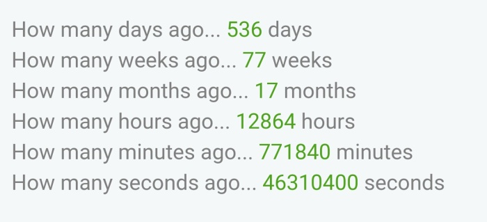 536 Days!